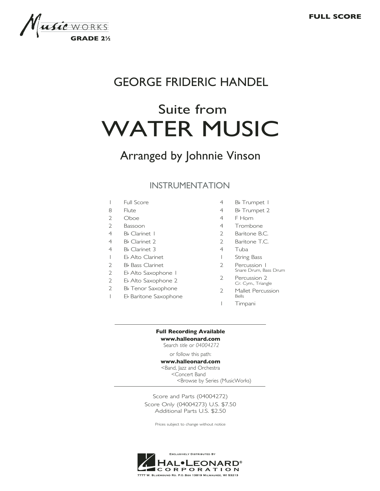 Suite from Water Music (COMPLETE) sheet music for concert band by George Frideric Handel and Johnnie Vinson. Score Image Preview.