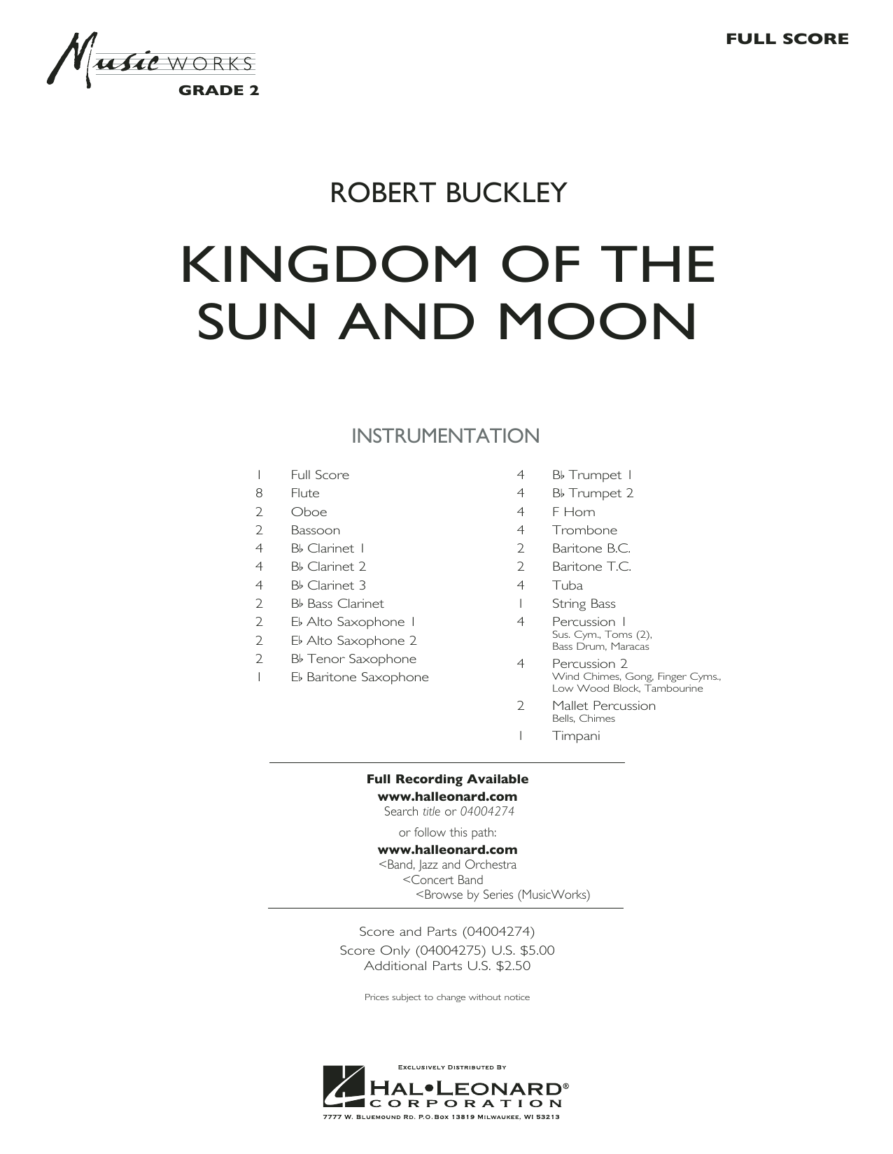 Kingdom of the Sun and Moon (COMPLETE) sheet music for concert band by Robert Buckley. Score Image Preview.