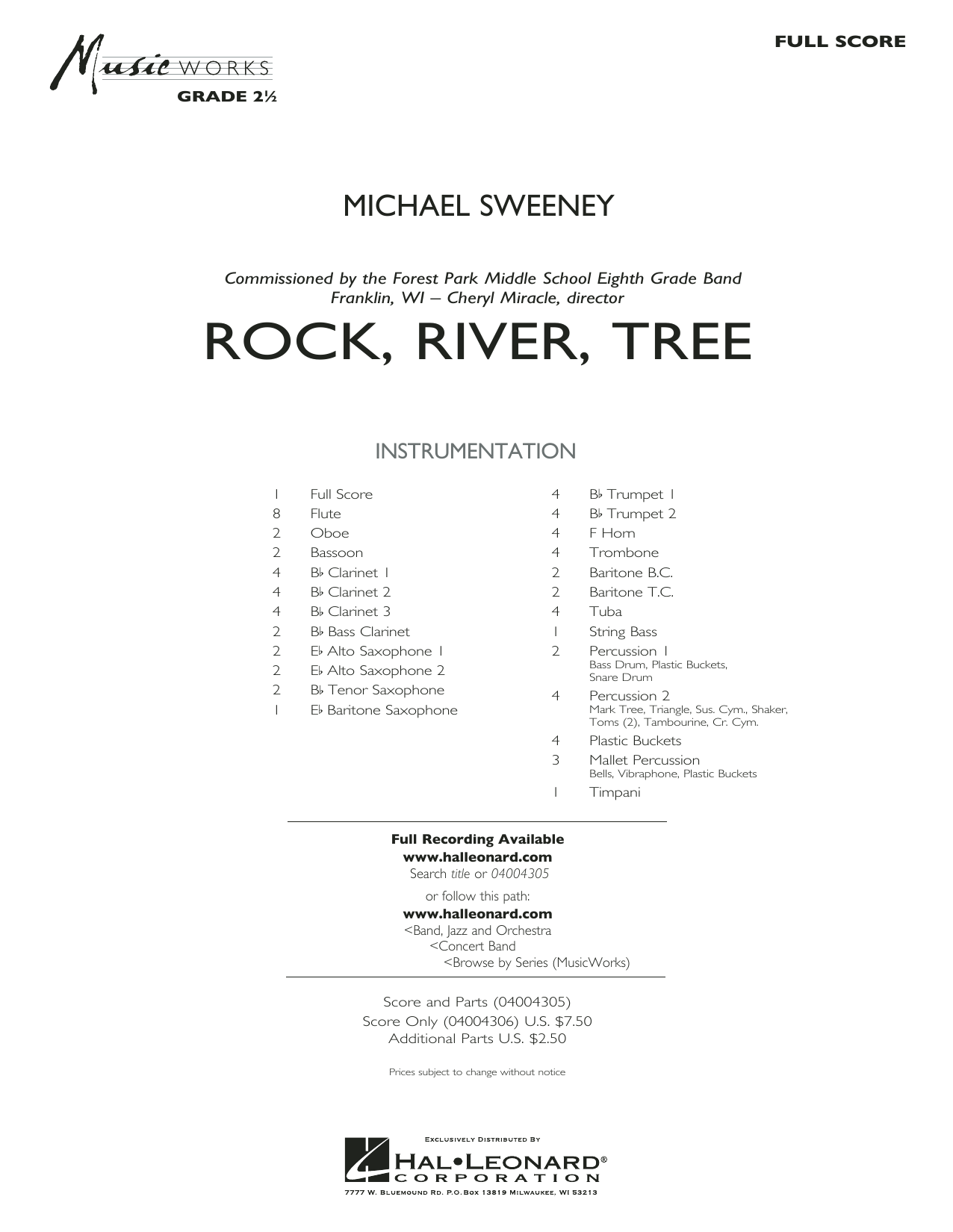 Rock, River, Tree (COMPLETE) sheet music for concert band by Michael Sweeney. Score Image Preview.
