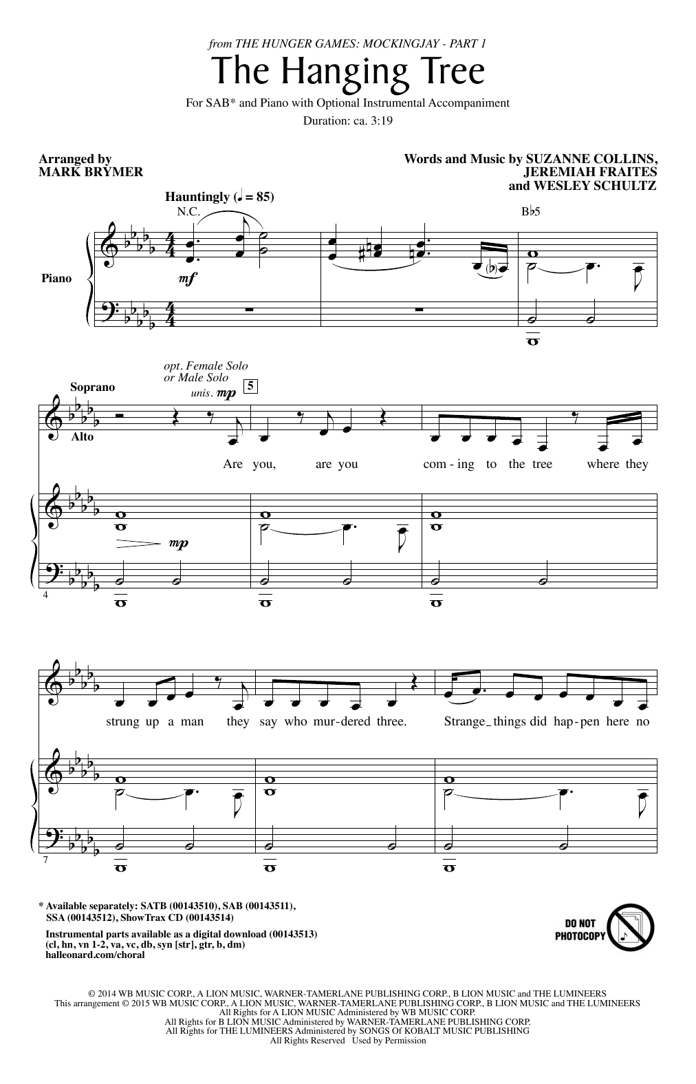 The Hanging Tree (arr. Mark Brymer) Sheet Music