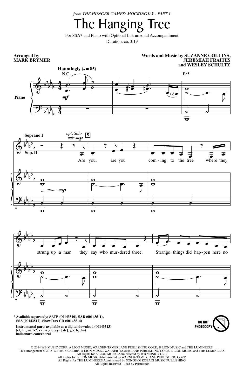The Hanging Tree Sheet Music