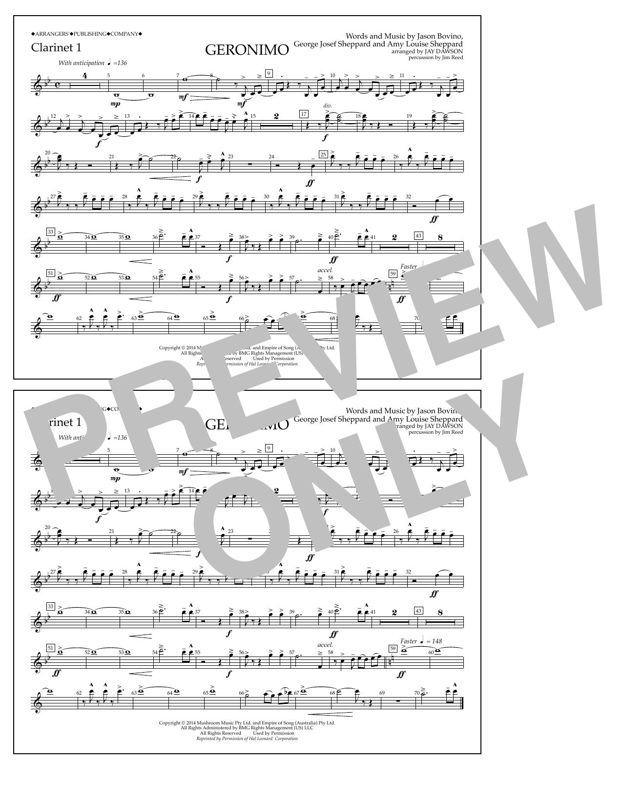 Geronimo - Clarinet 1 Sheet Music