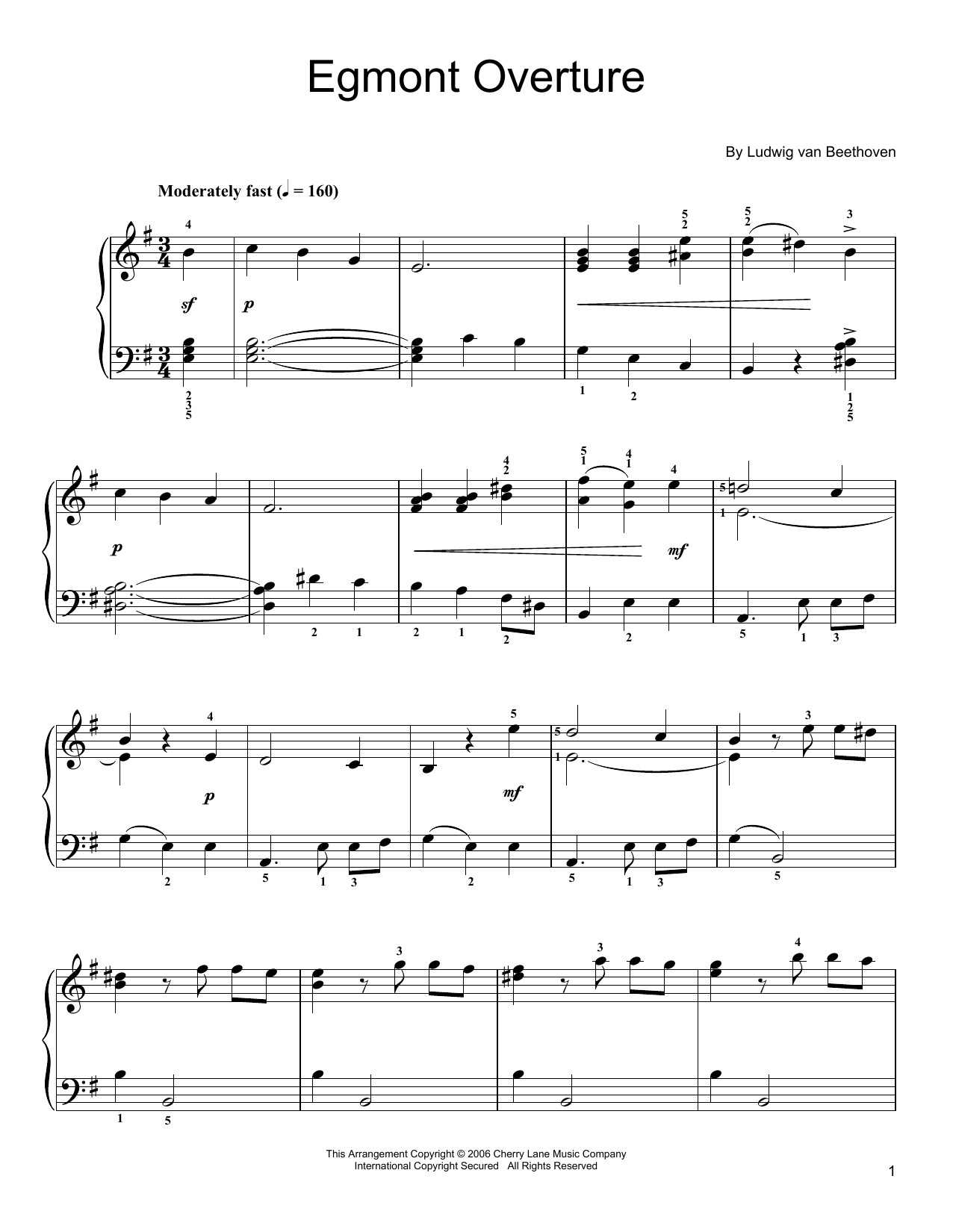 Overture To Egmont Sheet Music