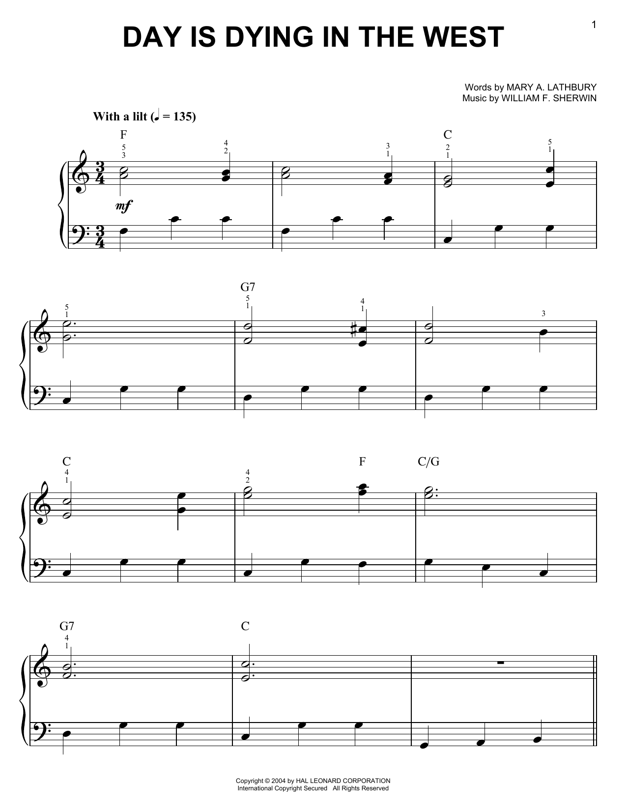 Day Is Dying In The West Sheet Music