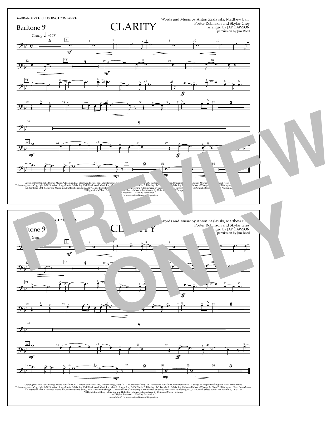 Clarity - Baritone B.C. Sheet Music