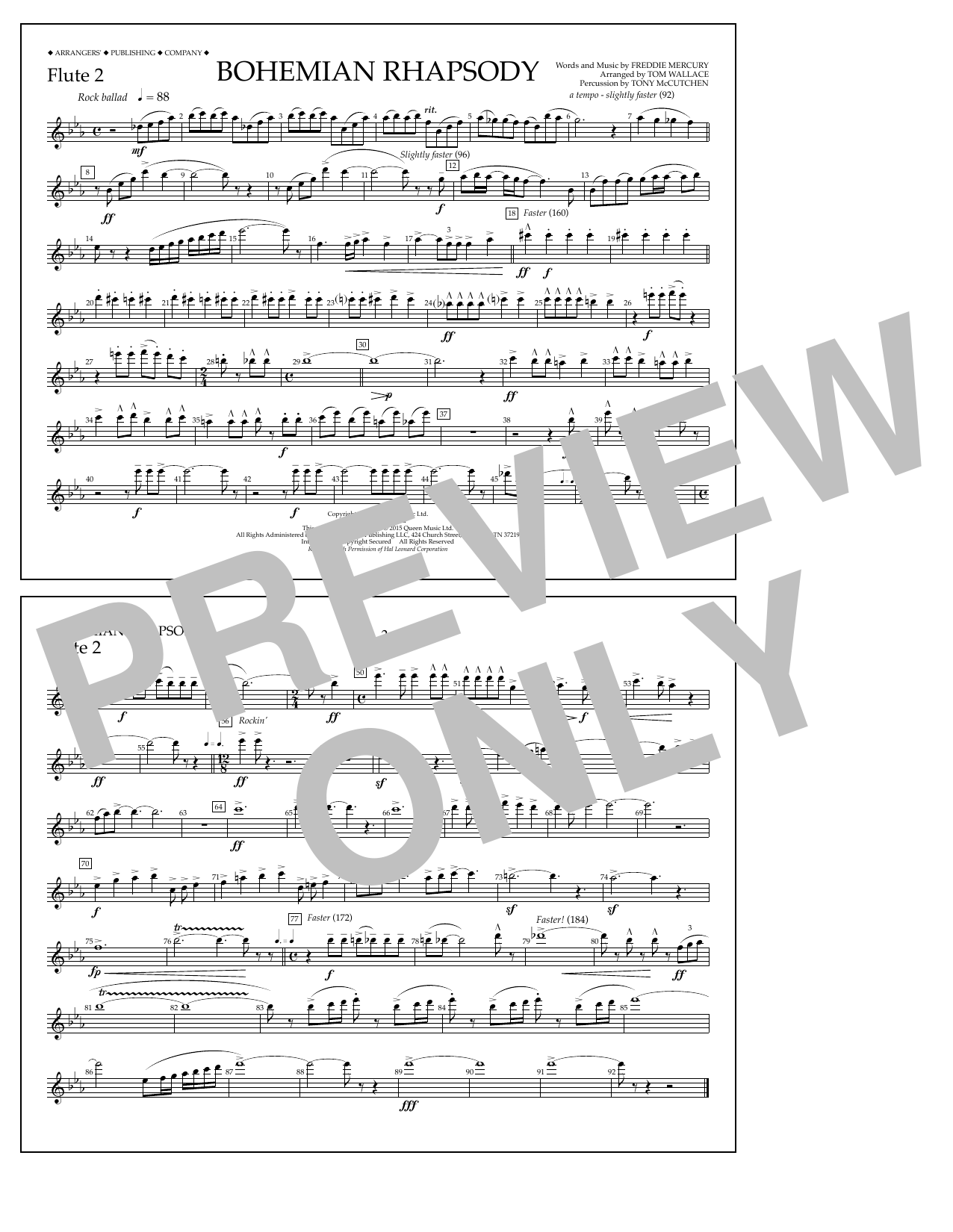 Bohemian Rhapsody - Flute 2 (Marching Band)