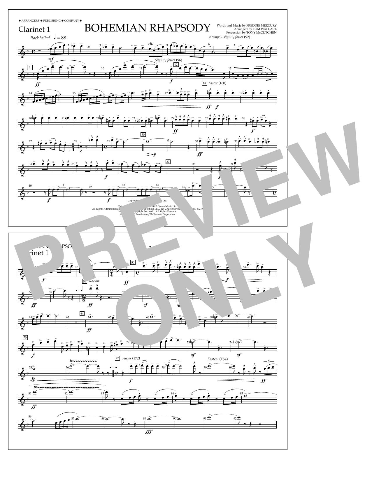 Bohemian Rhapsody - Clarinet 1 Sheet Music