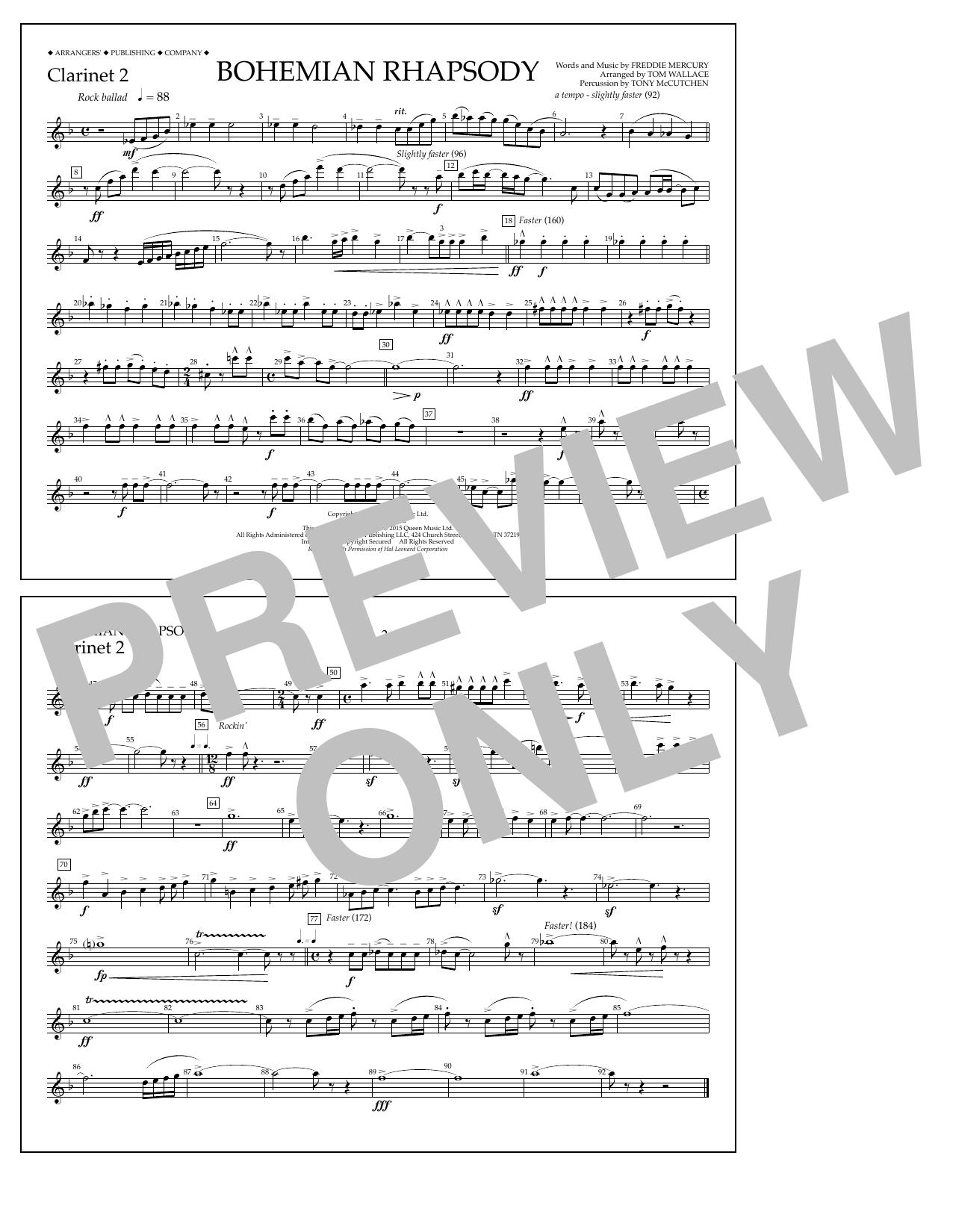 Bohemian Rhapsody - Clarinet 2 (Marching Band)