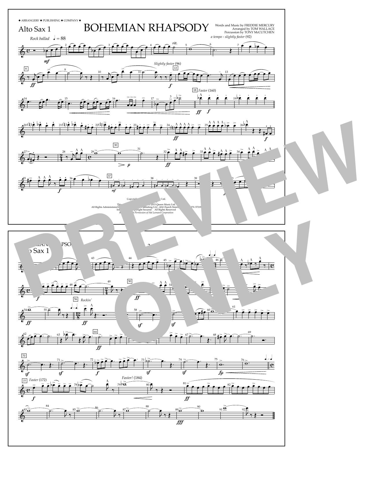 Bohemian Rhapsody - Alto Sax 1 (Marching Band)