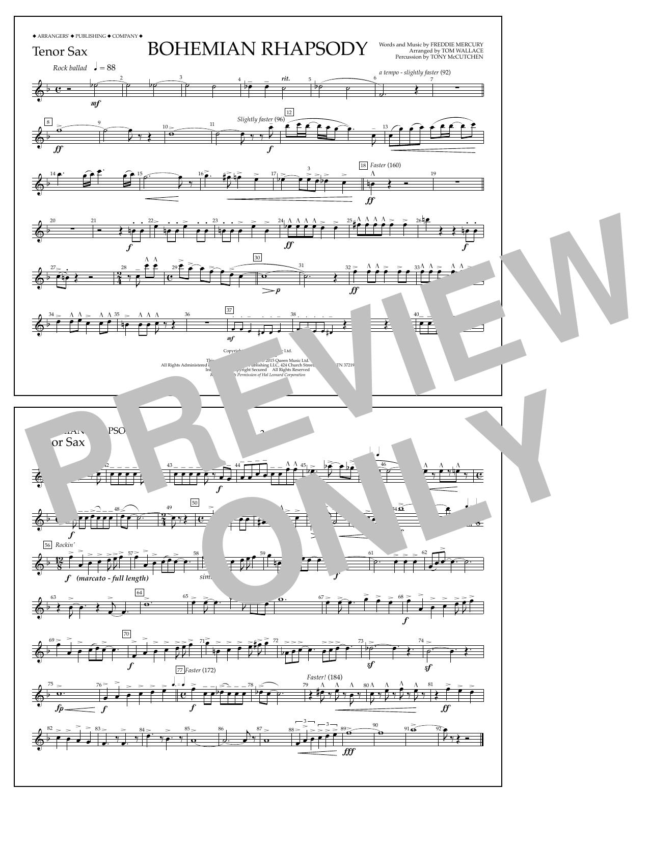 Bohemian Rhapsody - Tenor Sax Sheet Music