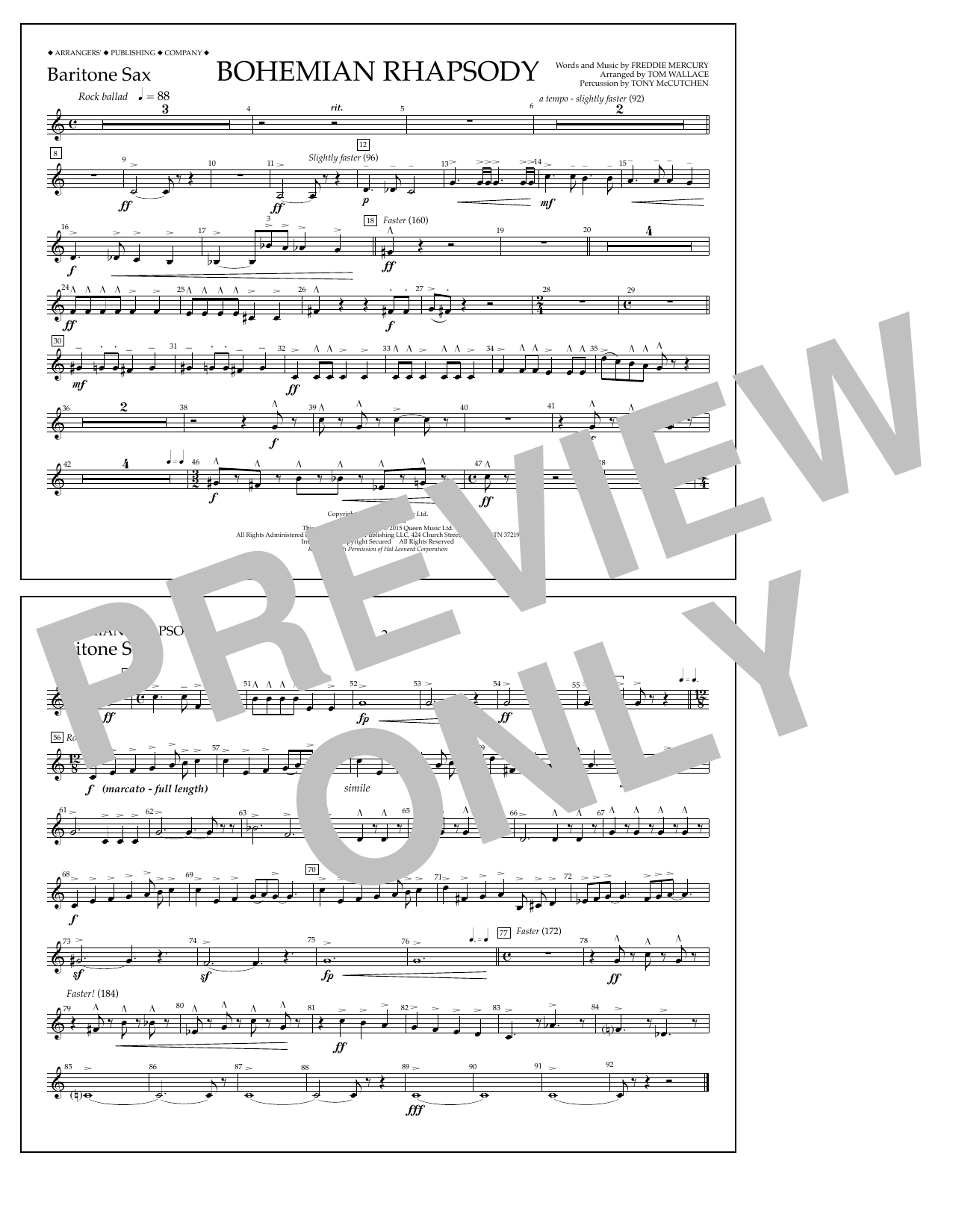 Bohemian Rhapsody - Baritone Sax Sheet Music