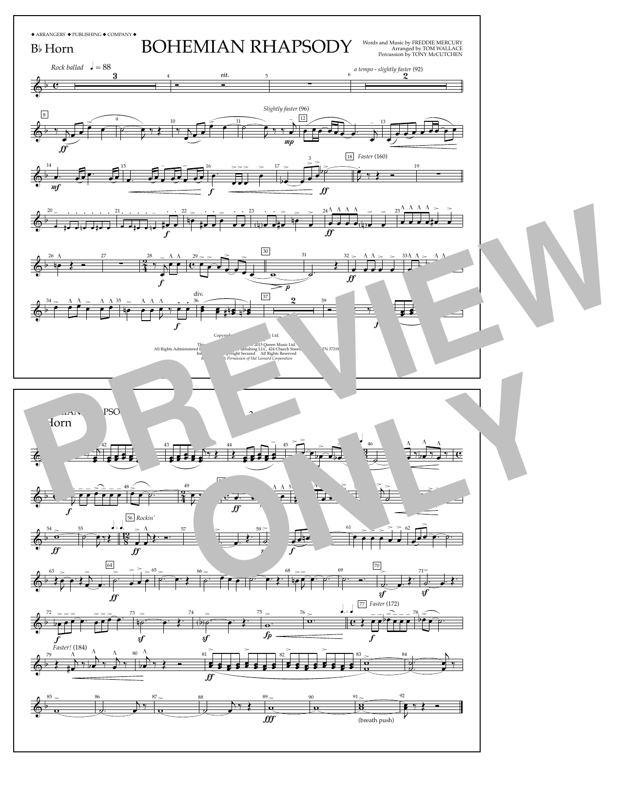 Bohemian Rhapsody - Bb Horn (Marching Band)