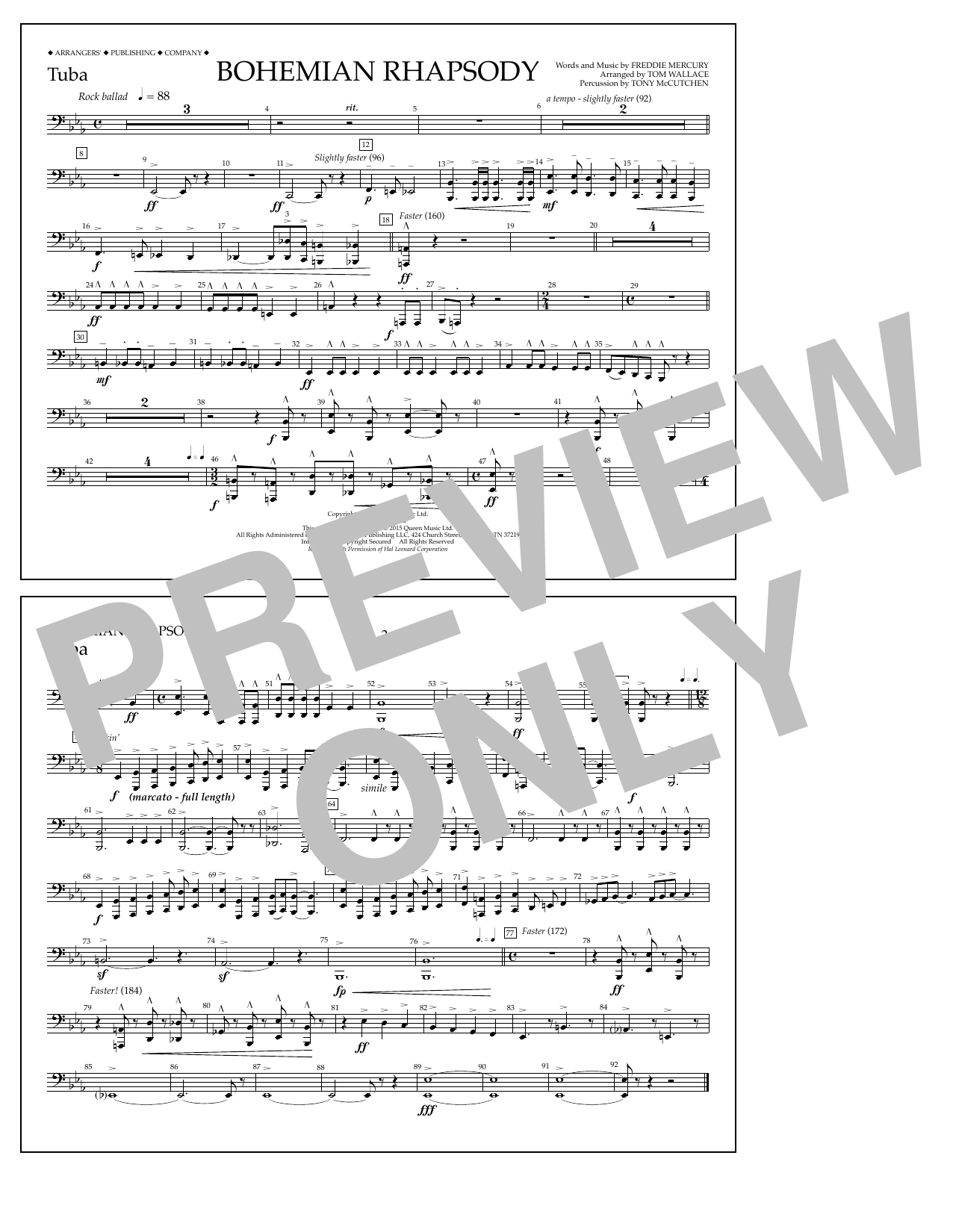 Bohemian Rhapsody - Tuba Sheet Music