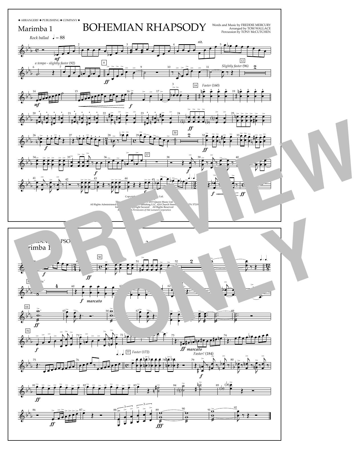 Bohemian Rhapsody - Marimba 1 (Marching Band)