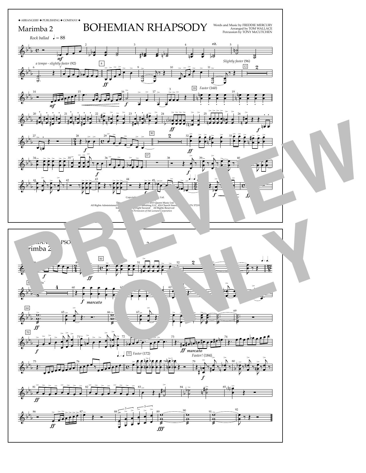 Bohemian Rhapsody - Marimba 2 Sheet Music
