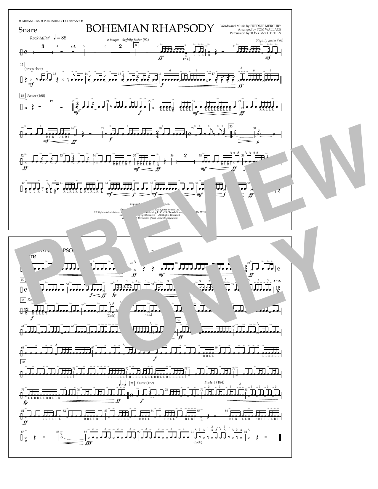 Bohemian Rhapsody - Snare (Marching Band)