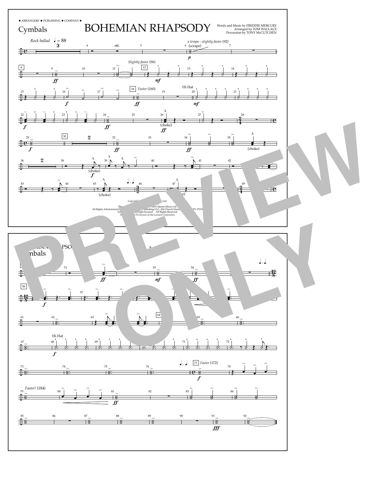 Bohemian Rhapsody - Cymbals Sheet Music