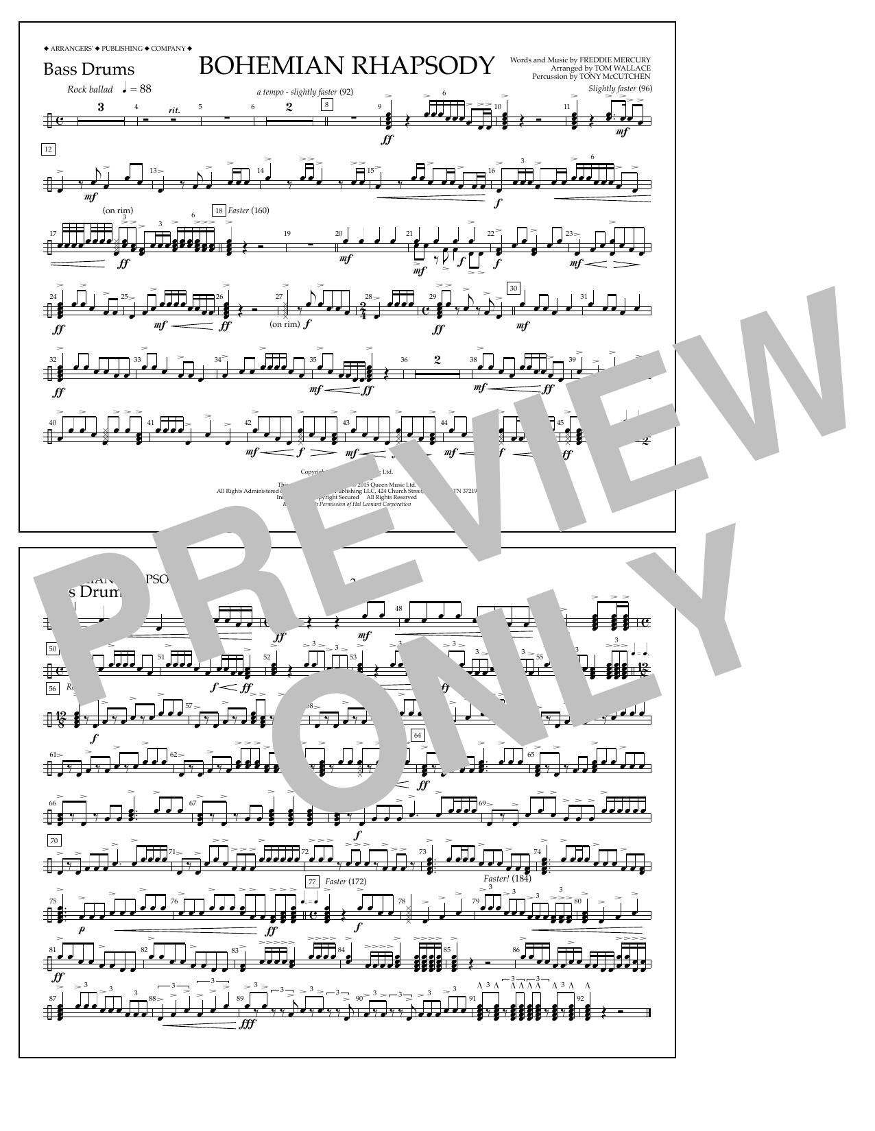 Bohemian Rhapsody - Bass Drums Sheet Music