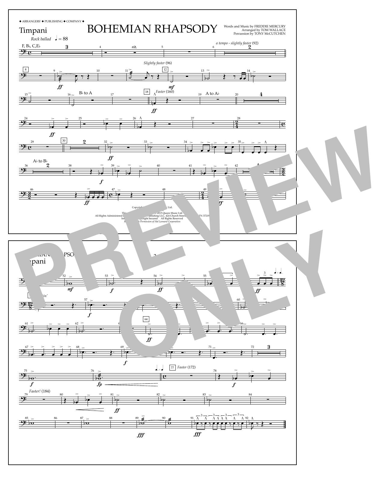 Bohemian Rhapsody - Timpani Sheet Music