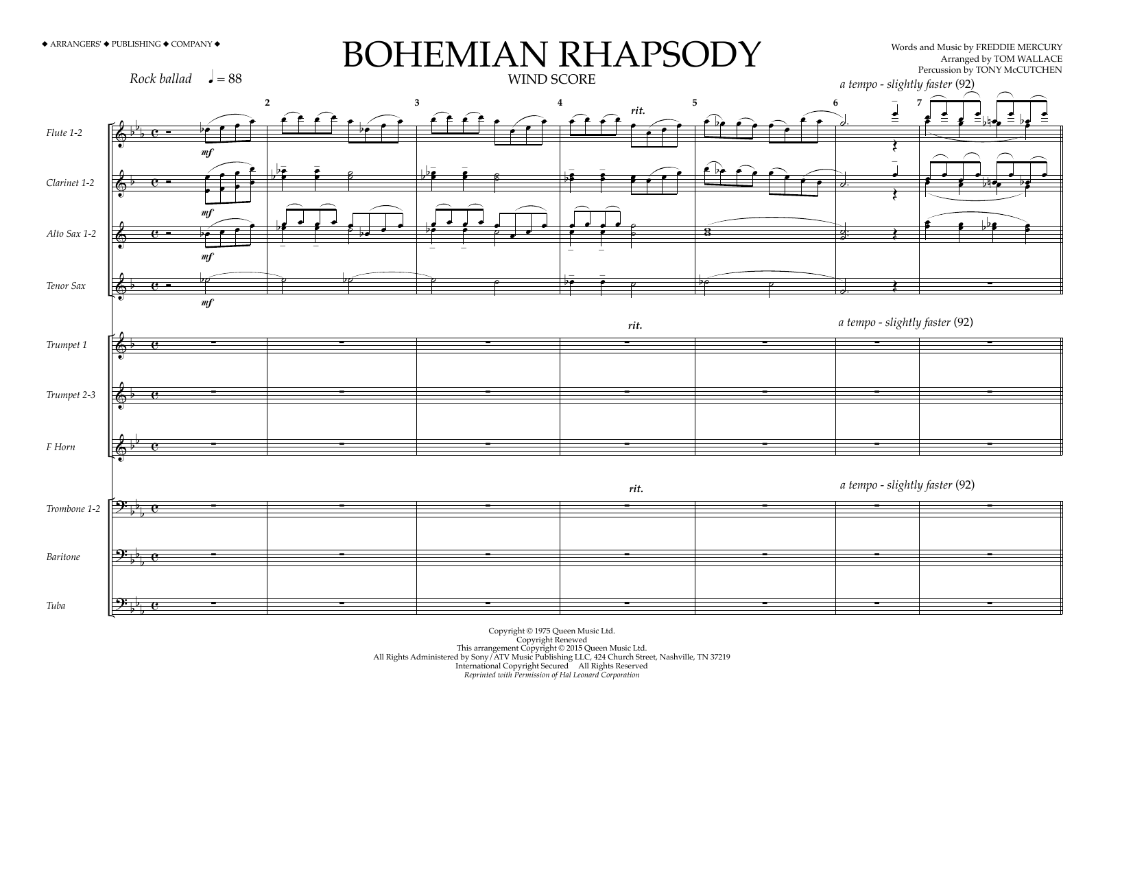 Bohemian Rhapsody - Wind Score Sheet Music