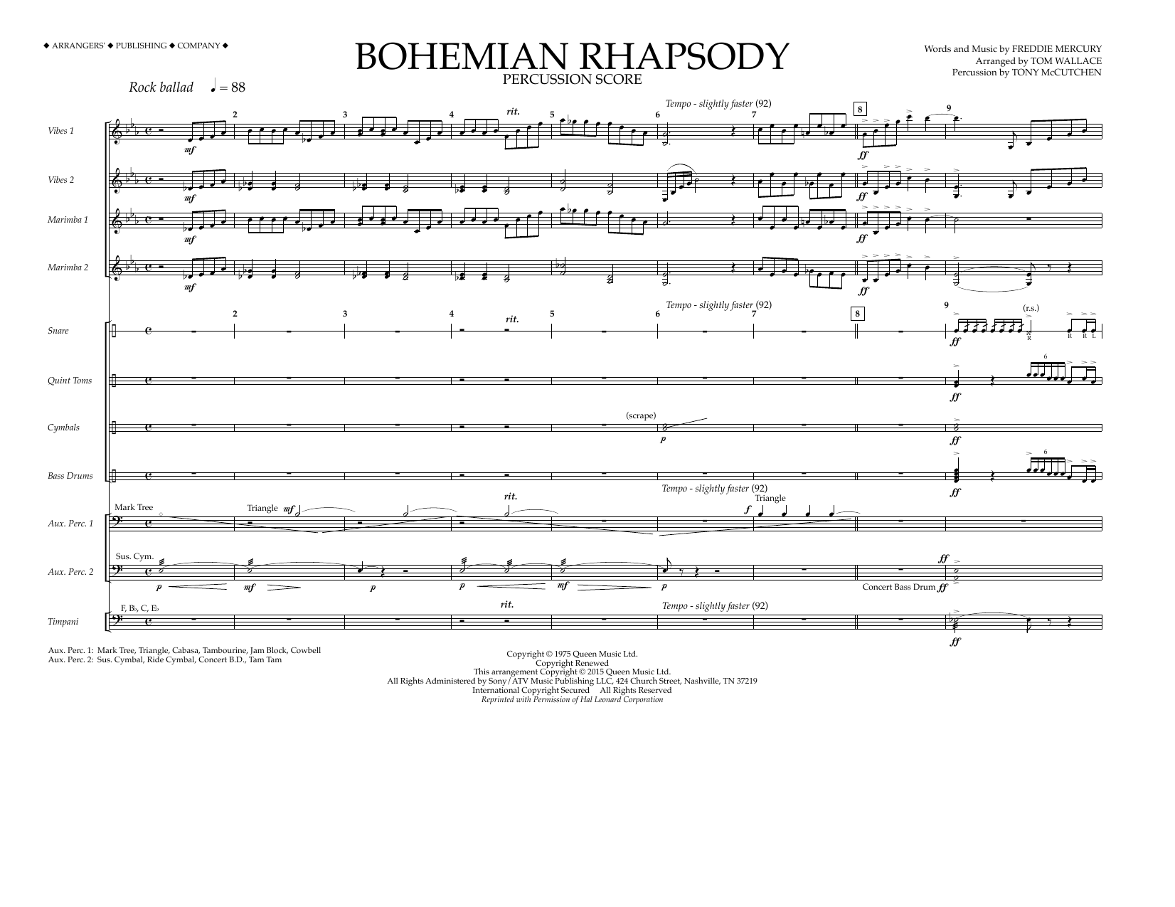 Bohemian Rhapsody - Percussion Score Sheet Music