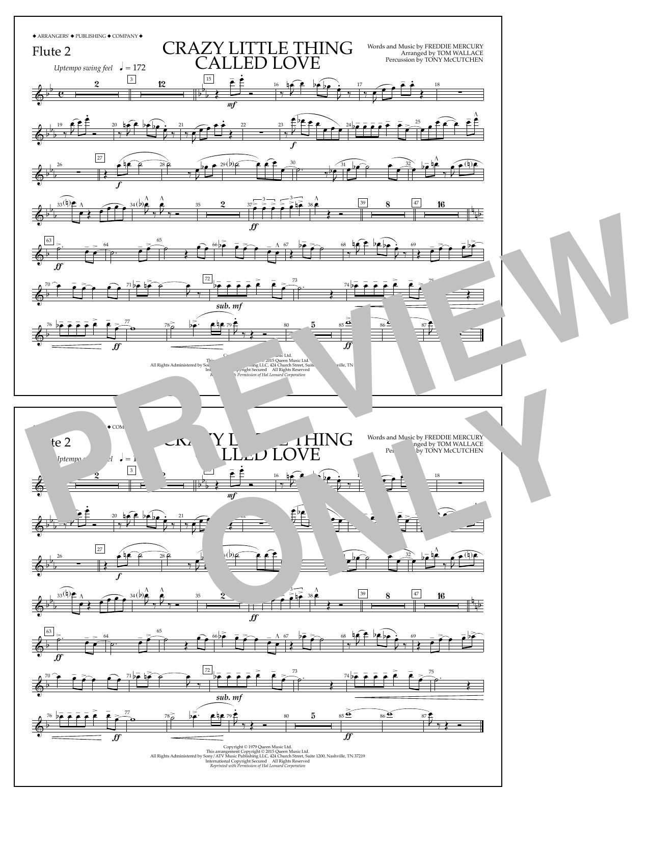 Crazy Little Thing Called Love - Flute 2 by Tom Wallace Marching Band  Digital Sheet Music
