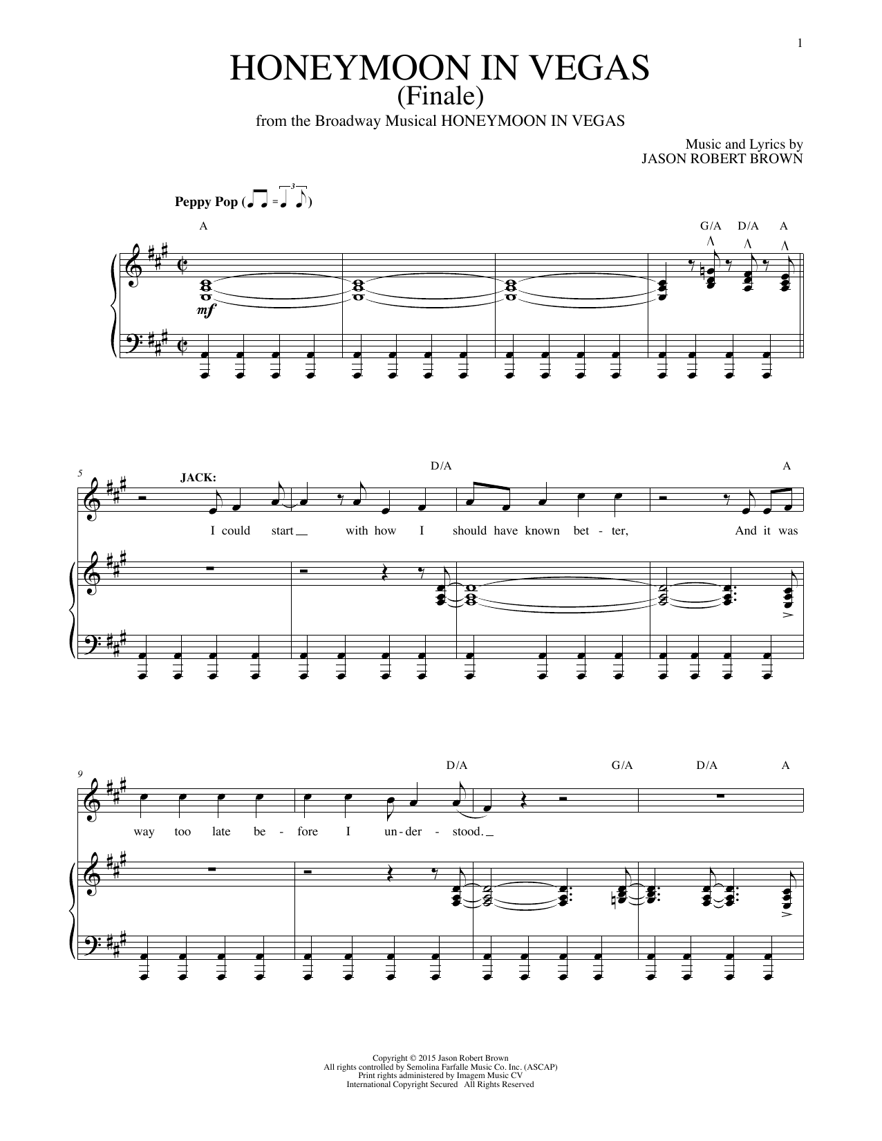 Honeymoon In Vegas (Finale) Sheet Music