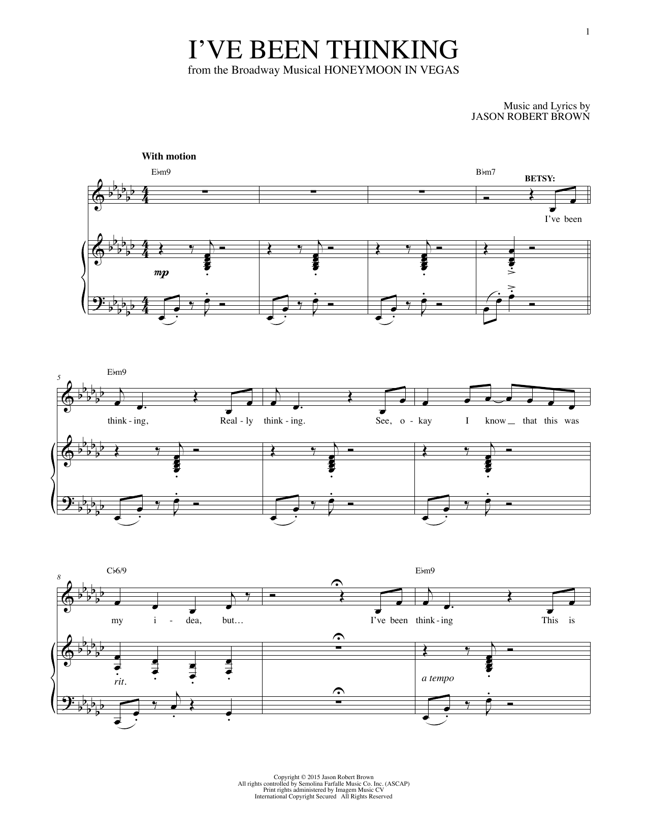 I've Been Thinking Sheet Music