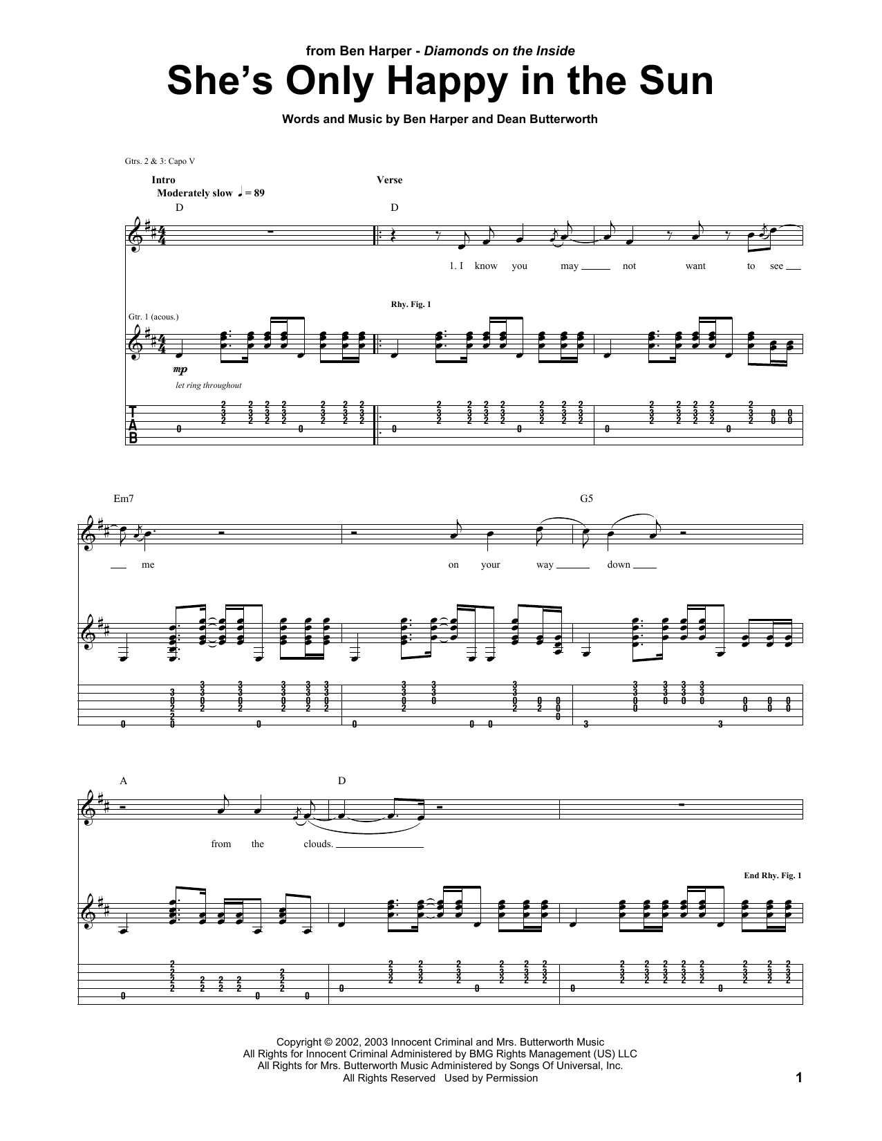 Tablature guitare She's Only Happy In The Sun de Ben Harper - Tablature Guitare