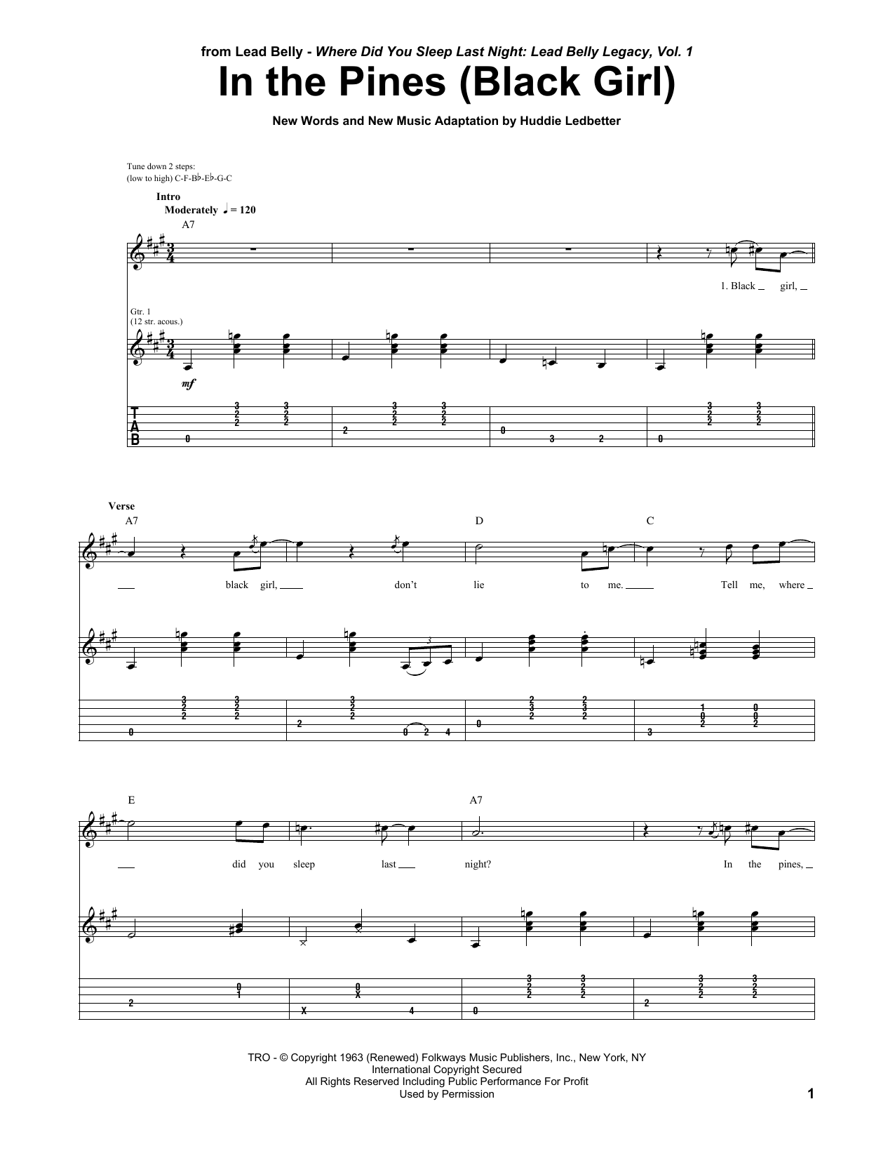 Tablature guitare In The Pines (Black Girl) de Huddie Ledbetter - Tablature Guitare
