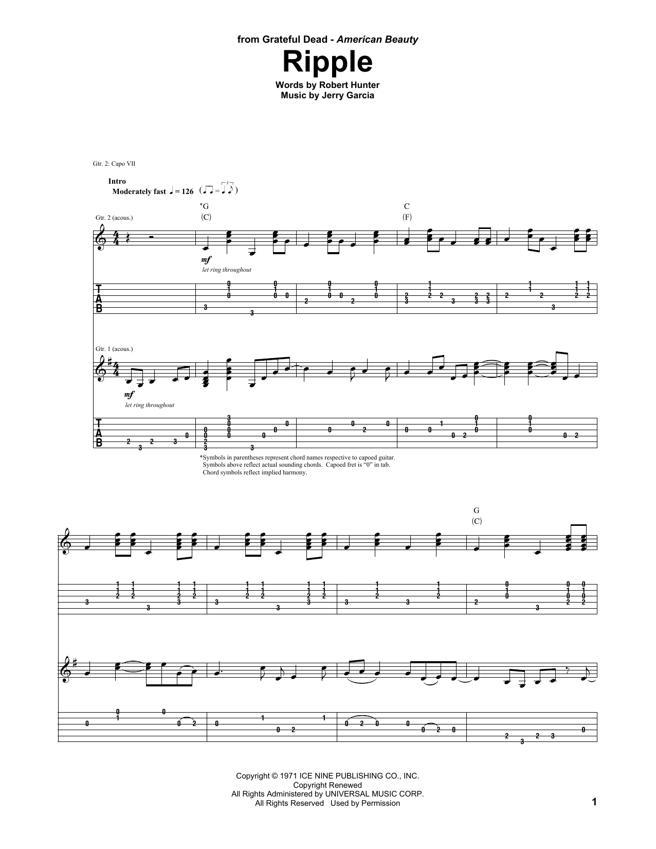 Ripple Grateful Dead Guitar Tab