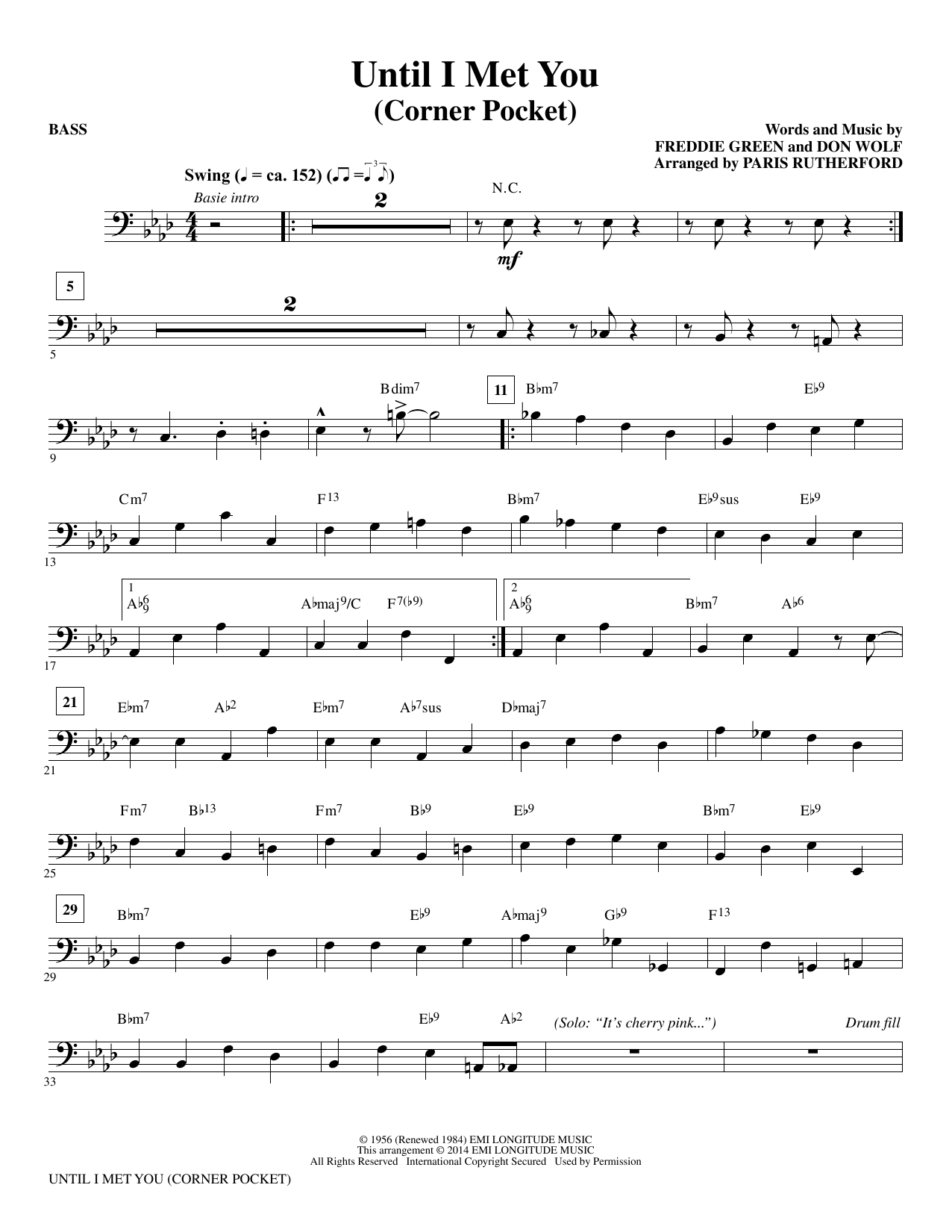Until I Met You (Corner Pocket) - Bass Sheet Music