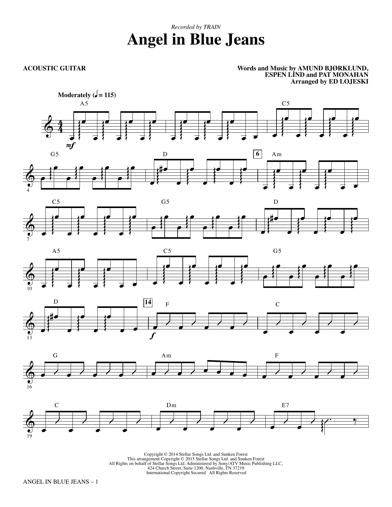 Angel In Blue Jeans Acoustic Guitar Sheet Music To Download
