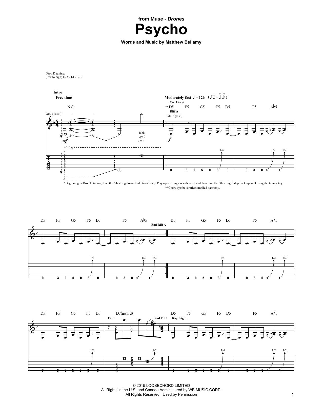 partition guitare electrique muse