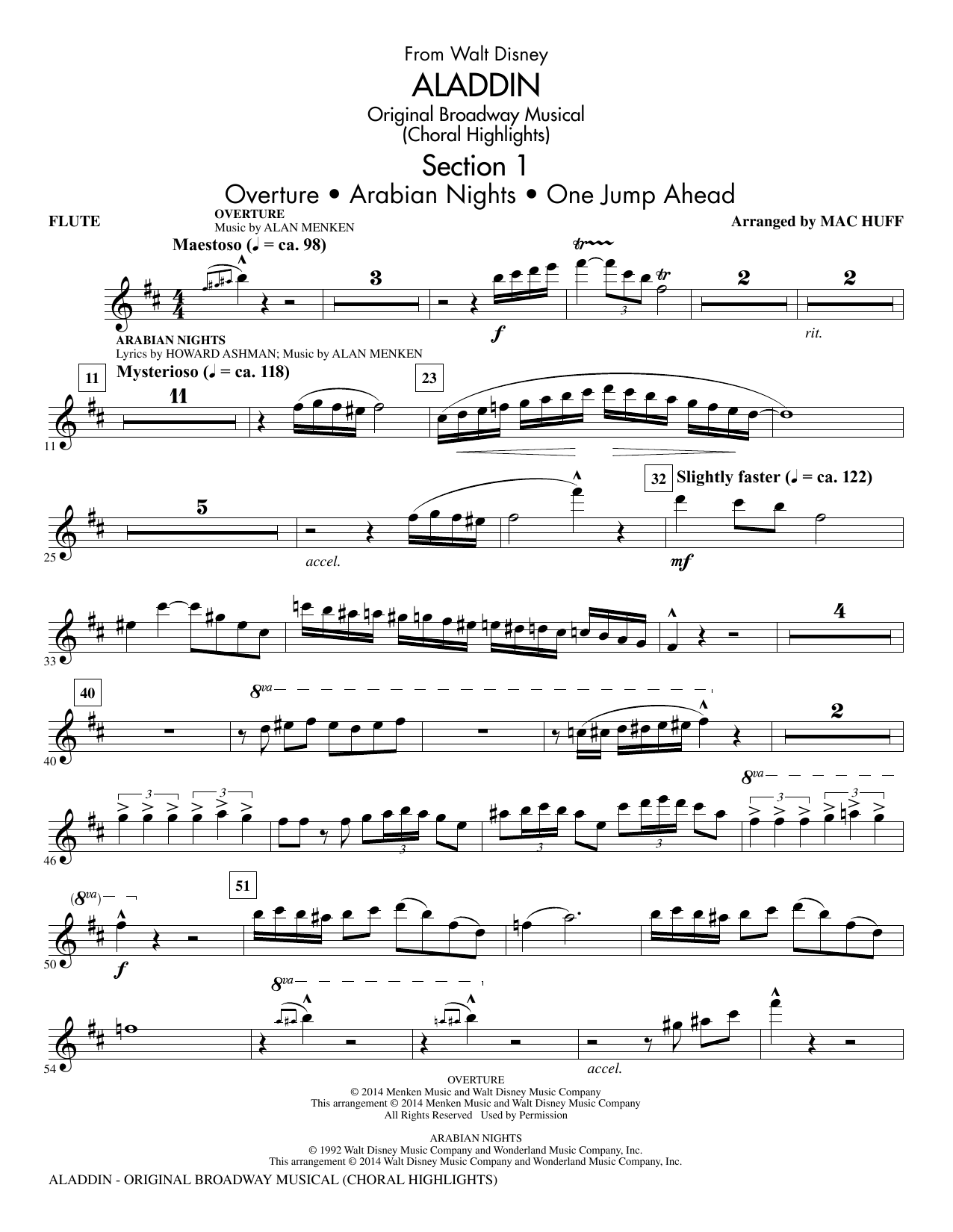 aladdin original broadway musical flute sheet music to download