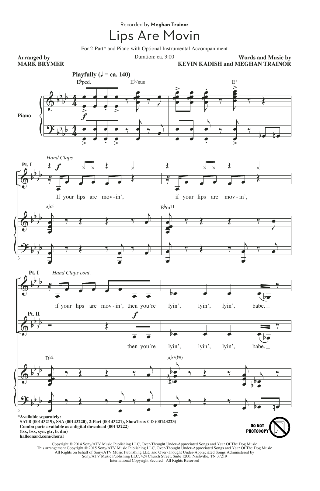 Lips Are Movin (arr. Mark Brymer) Sheet Music