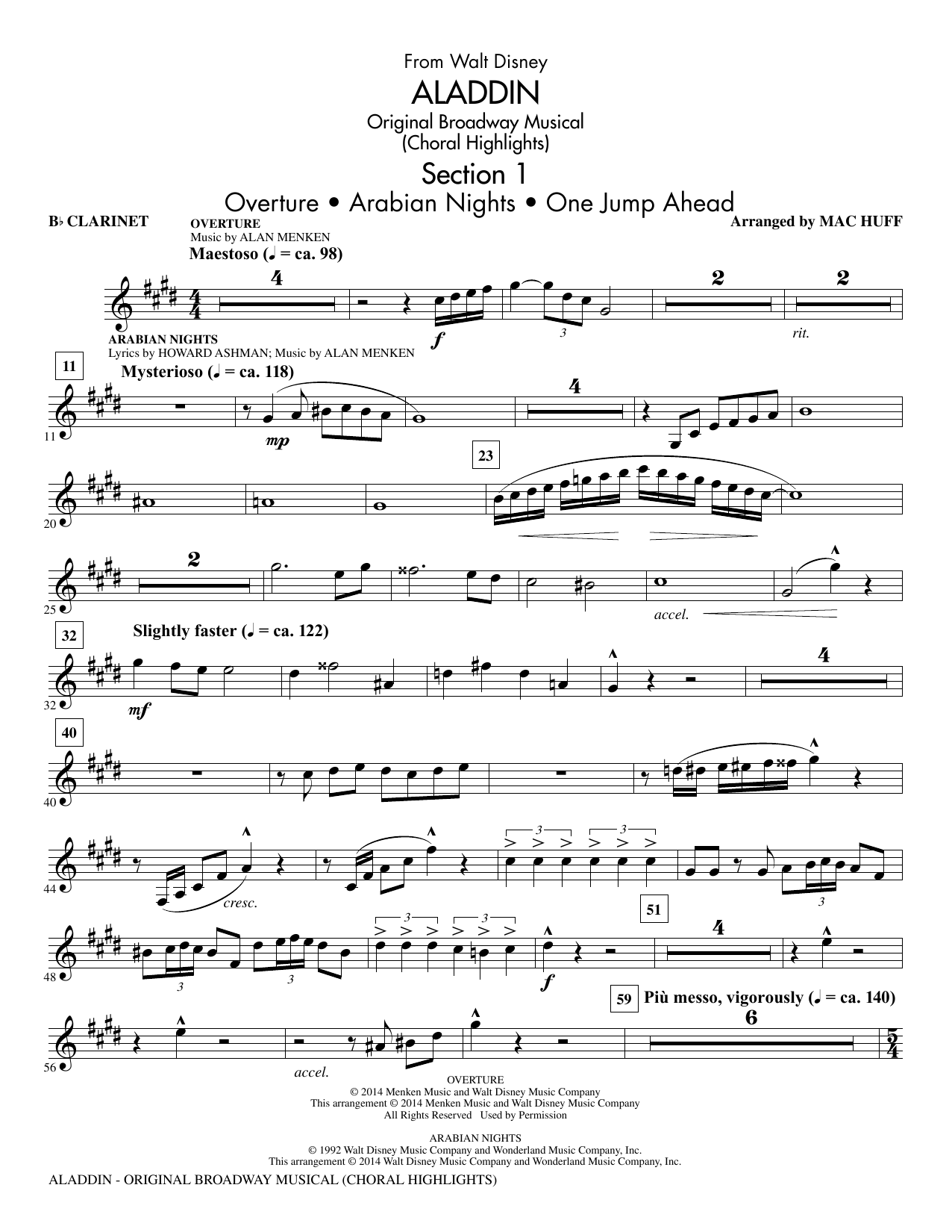 Aladdin (Choral Highlights) (from Aladdin: The Broadway Musical) (arr. Mac Huff) - Clarinet (Choir Instrumental Pak)