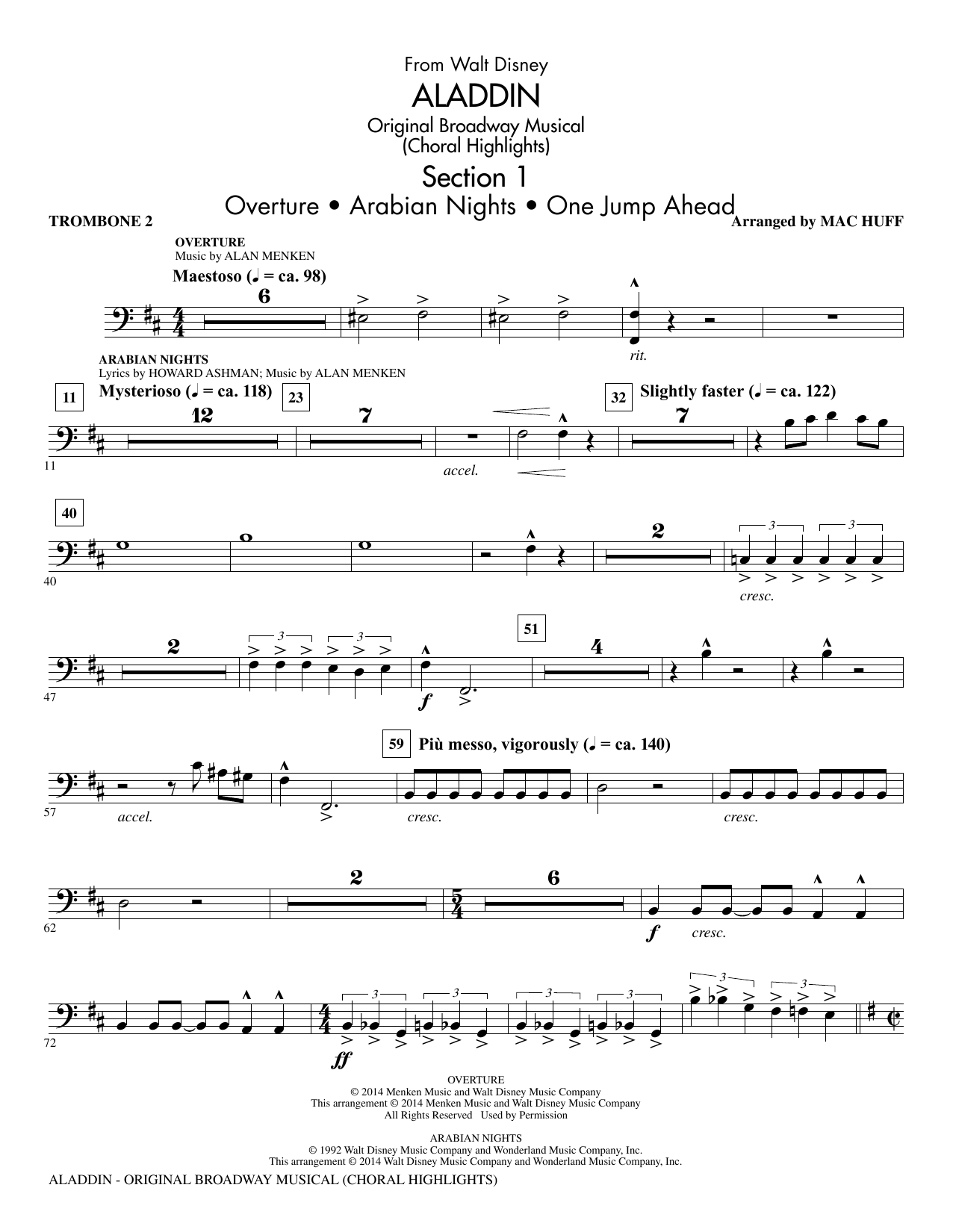 Aladdin (Choral Highlights) (from Aladdin: The Broadway Musical) (arr. Mac Huff) - Trombone 2 (Choir Instrumental Pak)