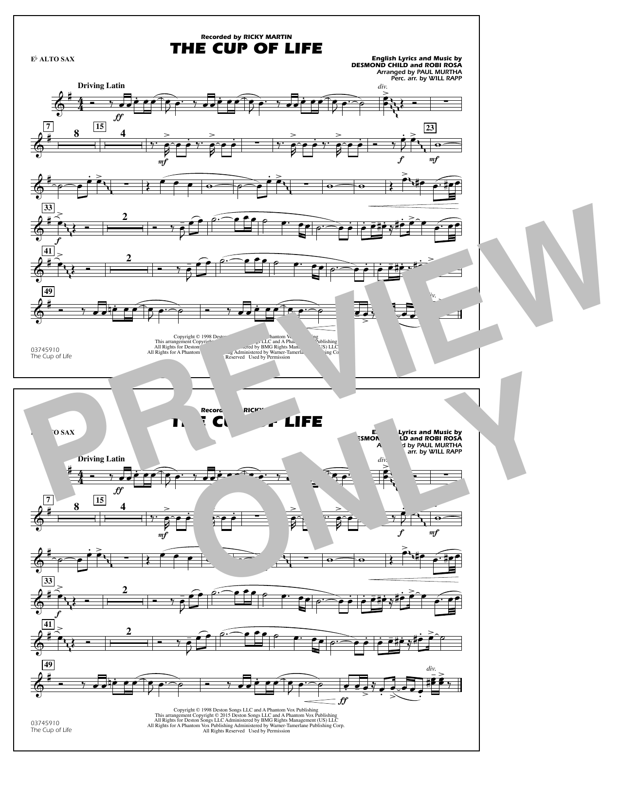 The Cup of Life - Eb Alto Sax (Marching Band)