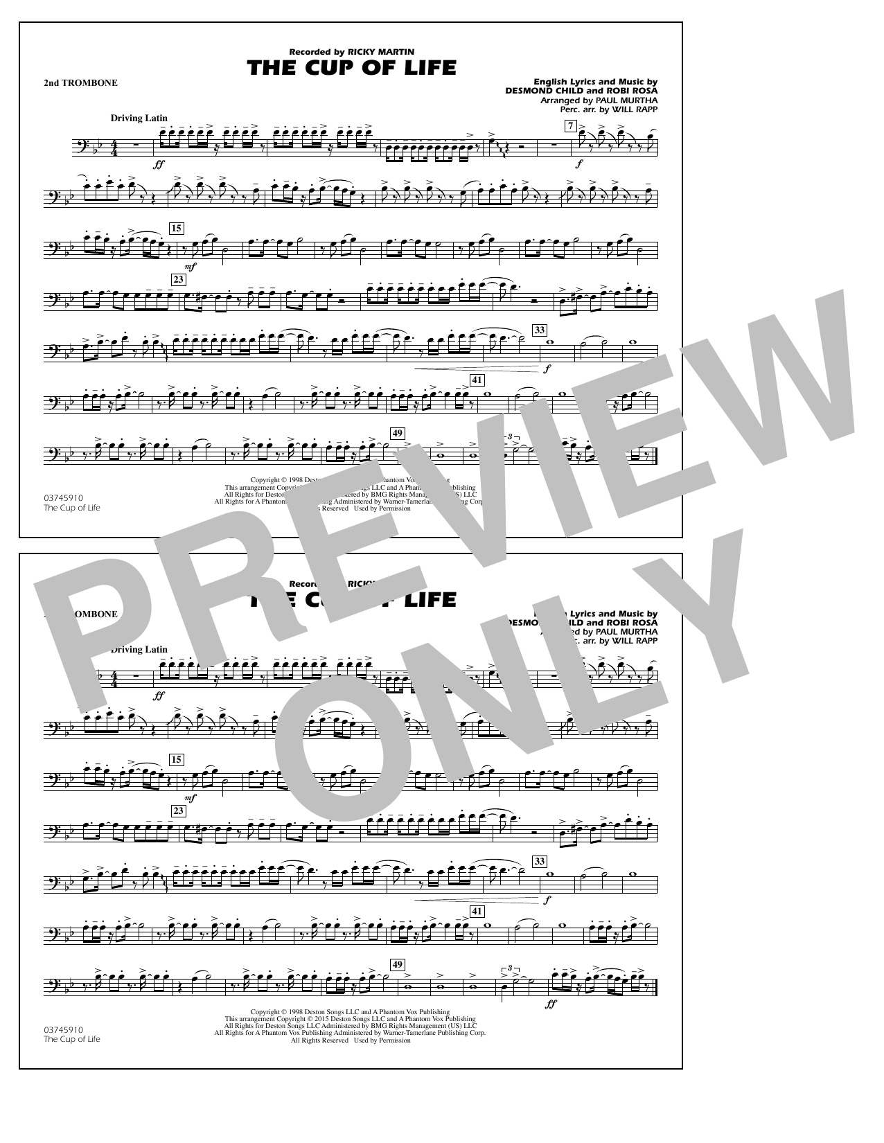 The Cup of Life - 2nd Trombone (Marching Band)
