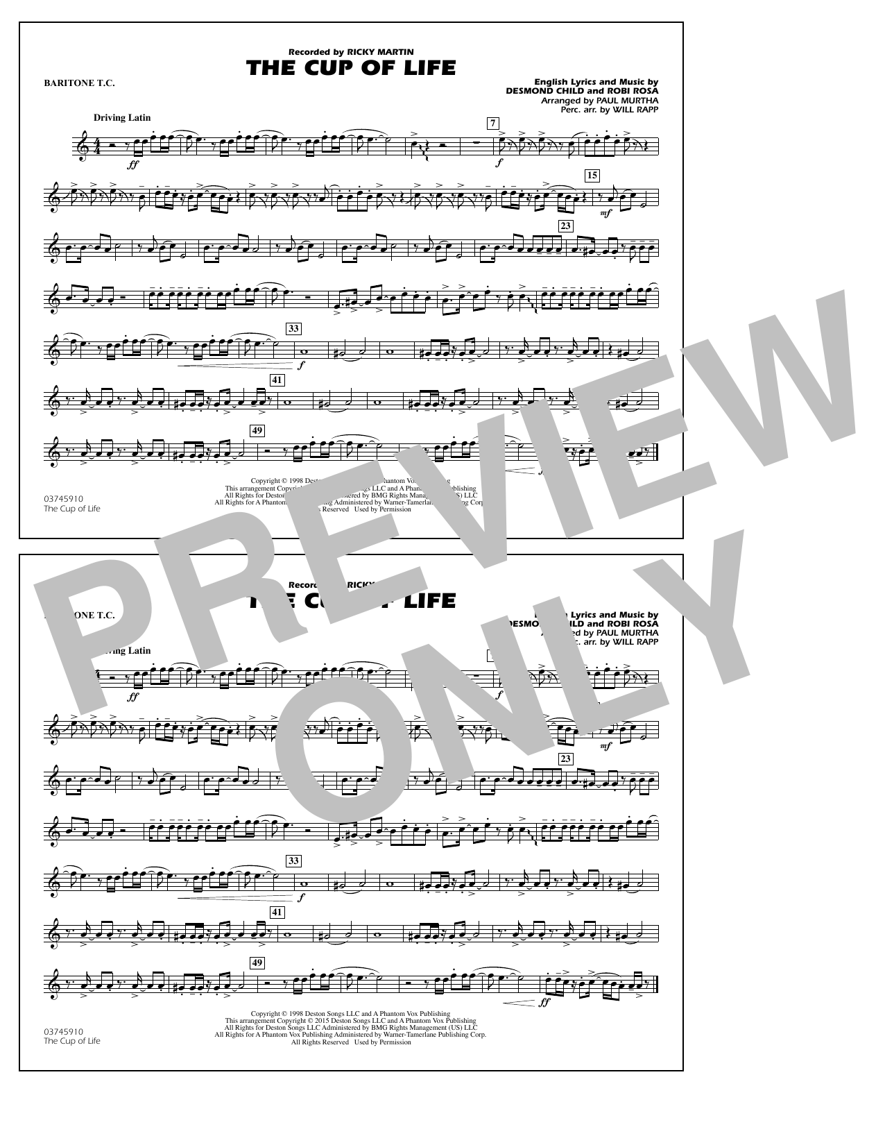 The Cup of Life - Baritone T.C. (Marching Band)