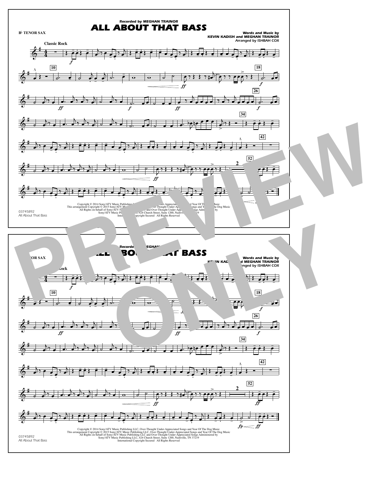 All About That Bass - Bb Tenor Sax (Marching Band)