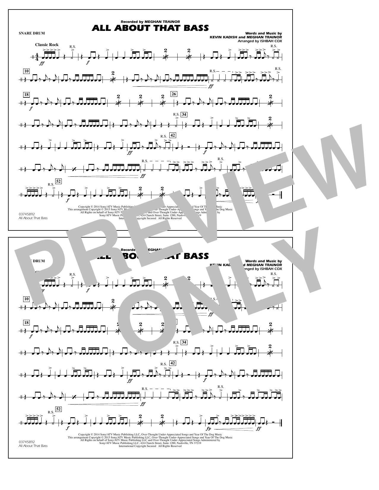 All About That Bass - Snare Drum (Marching Band)