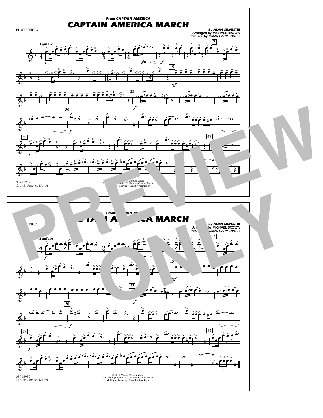 Captain America March - Flute/Piccolo (Marching Band)