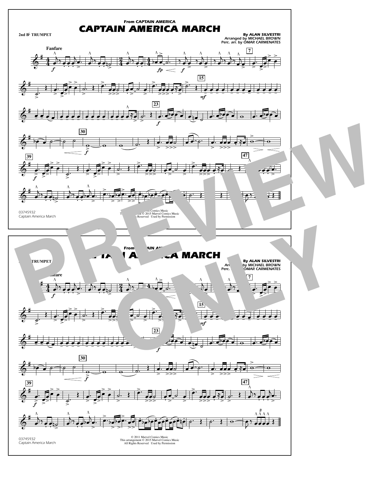 Captain America March - 2nd Bb Trumpet (Marching Band)