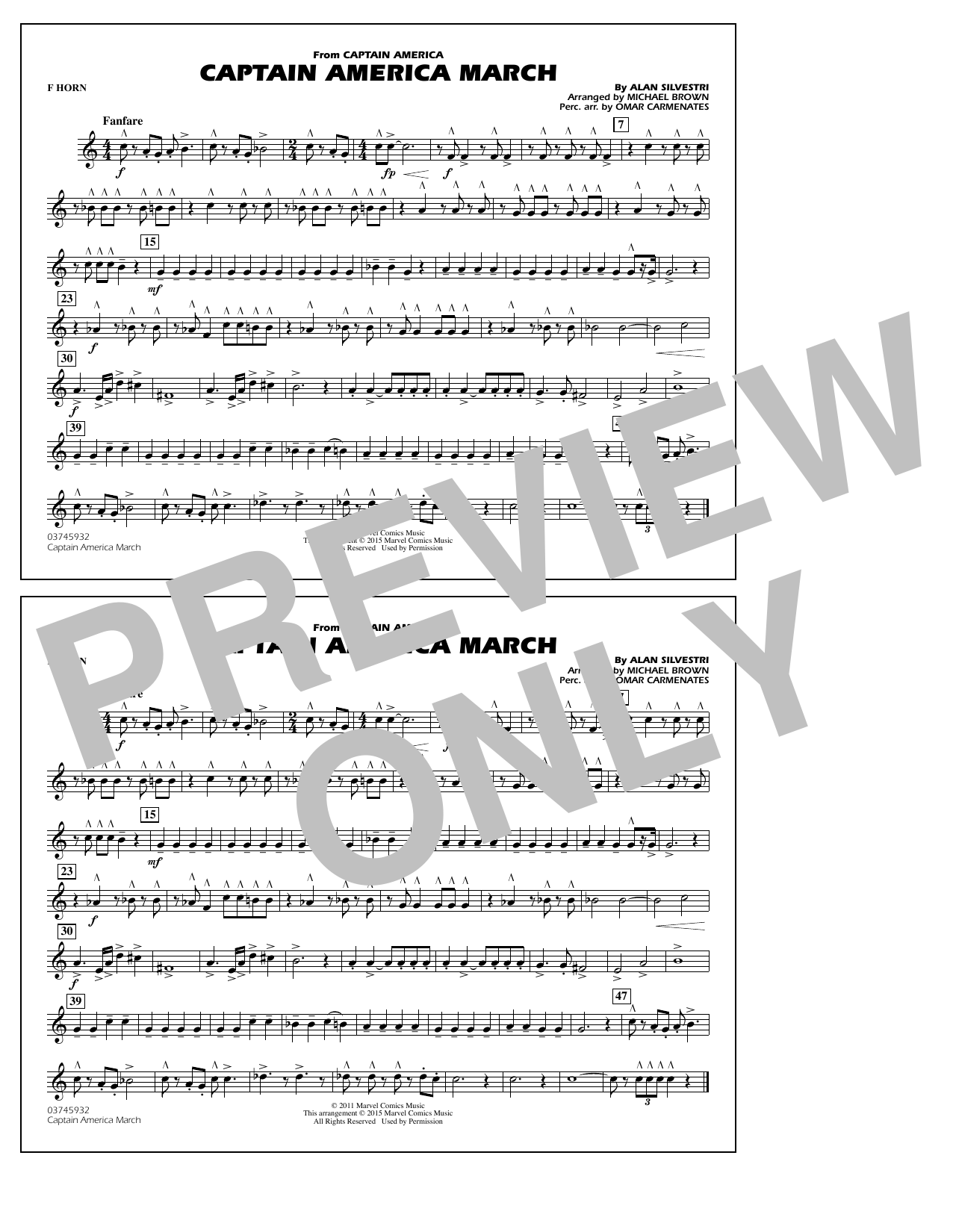 Captain America March - F Horn (Marching Band)