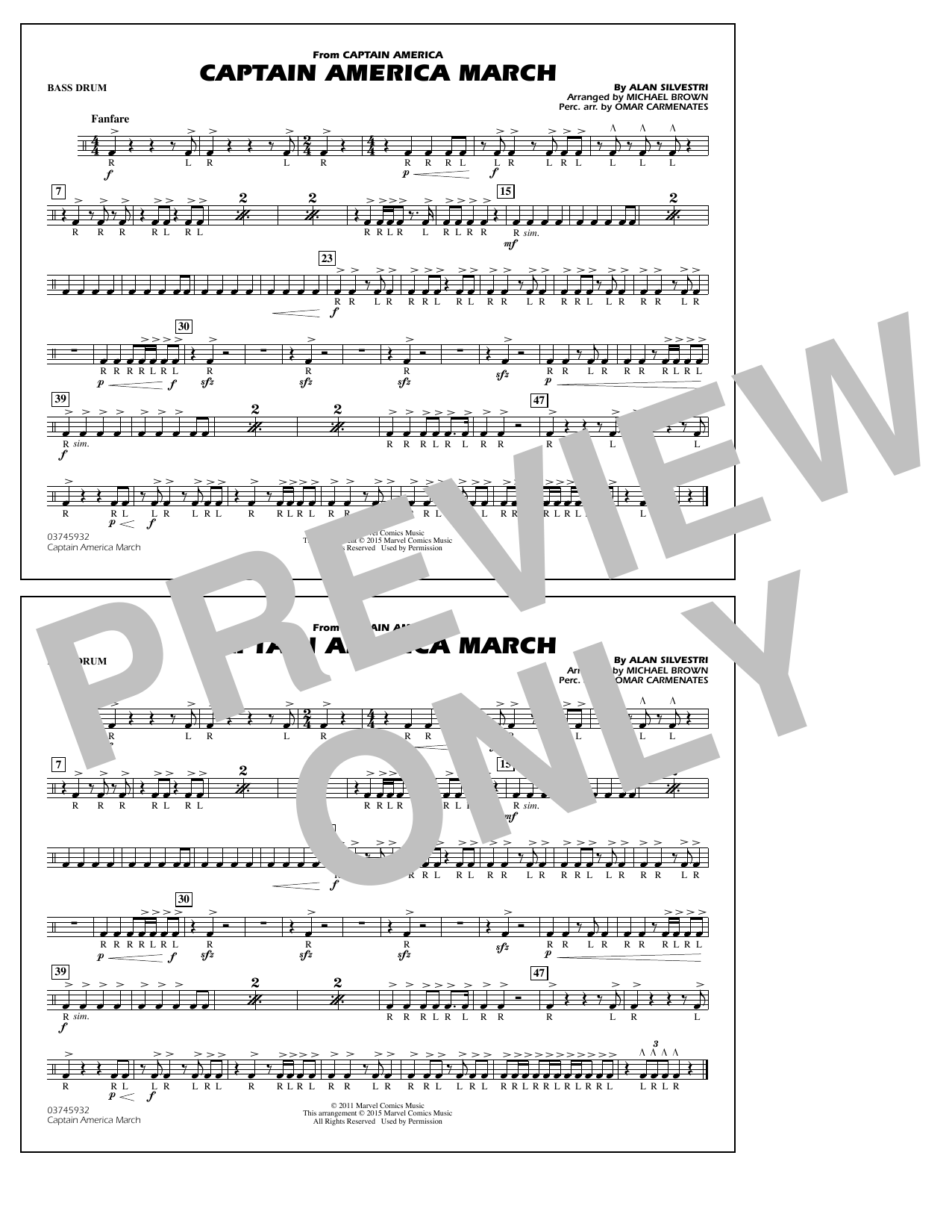 Captain America March - Bass Drum (Marching Band)