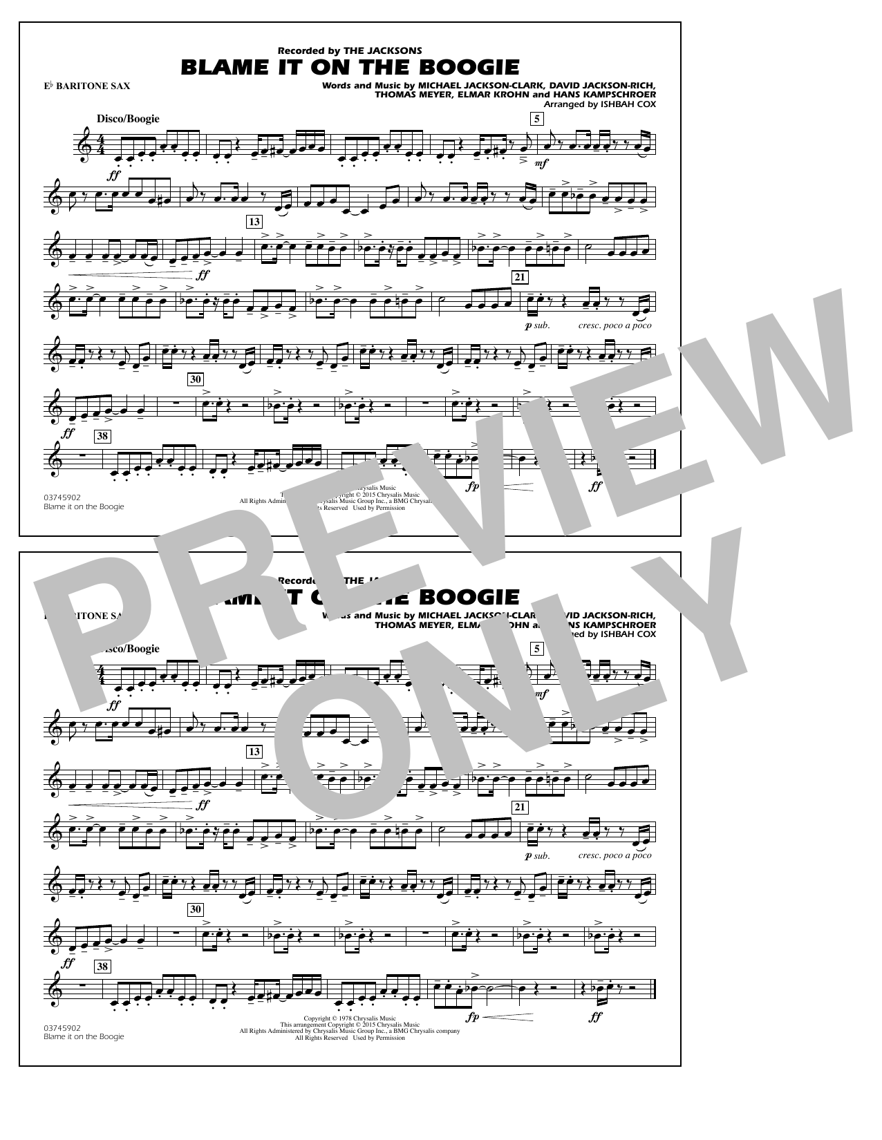Blame It on the Boogie - Eb Baritone Sax (Marching Band)