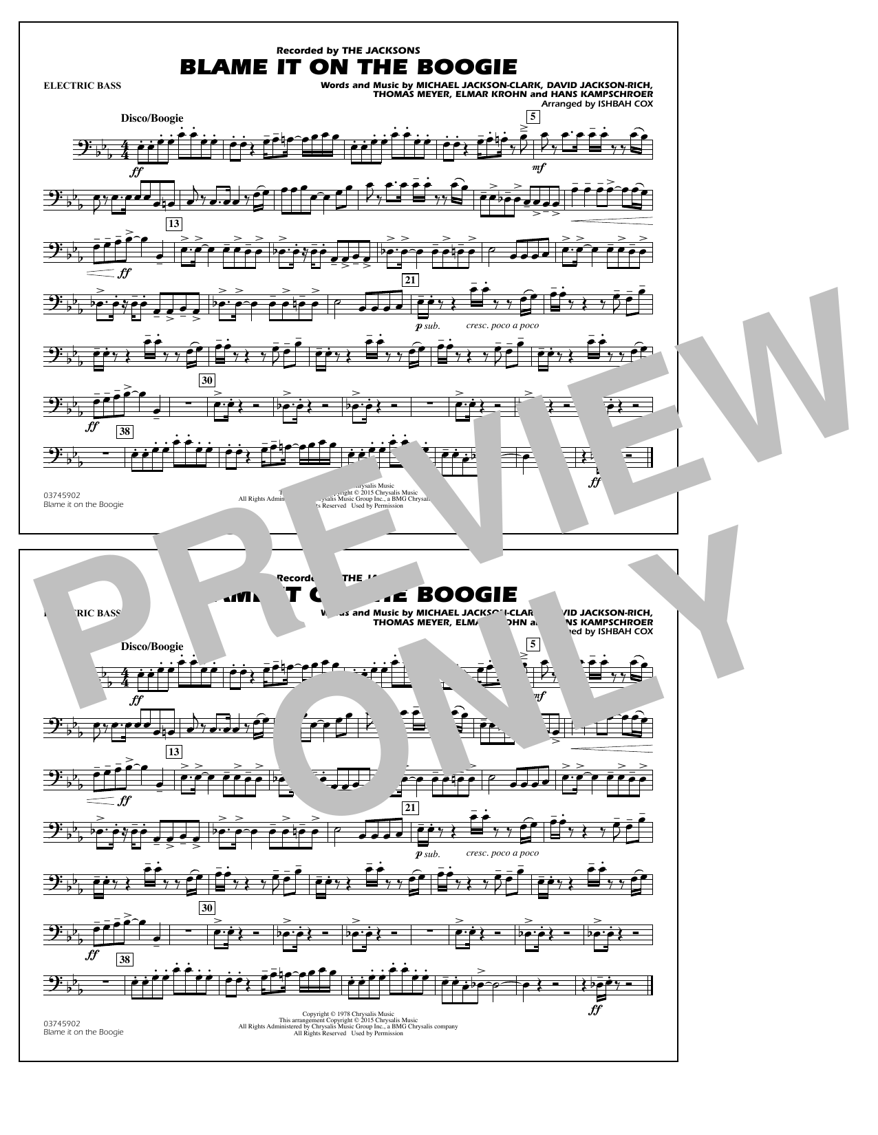 Blame It on the Boogie - Electric Bass (Marching Band)