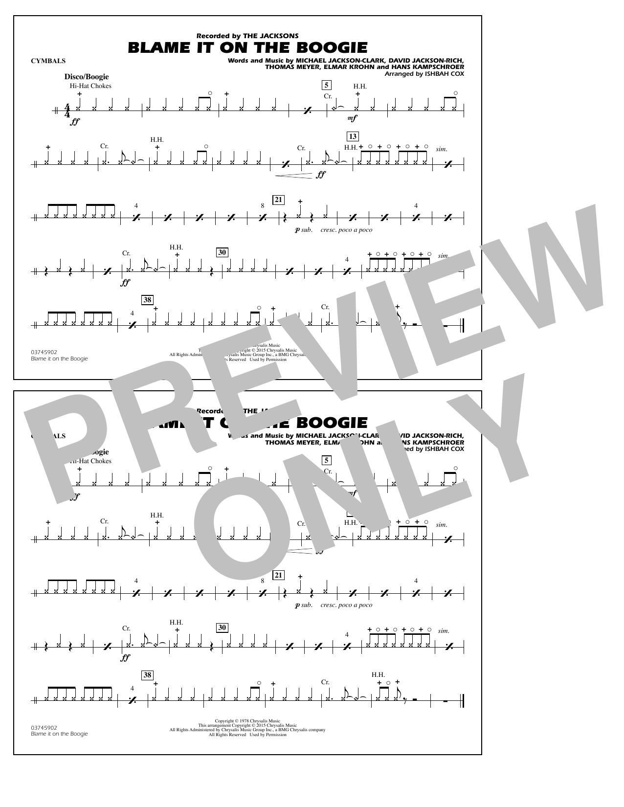 Blame It on the Boogie - Cymbals (Marching Band)